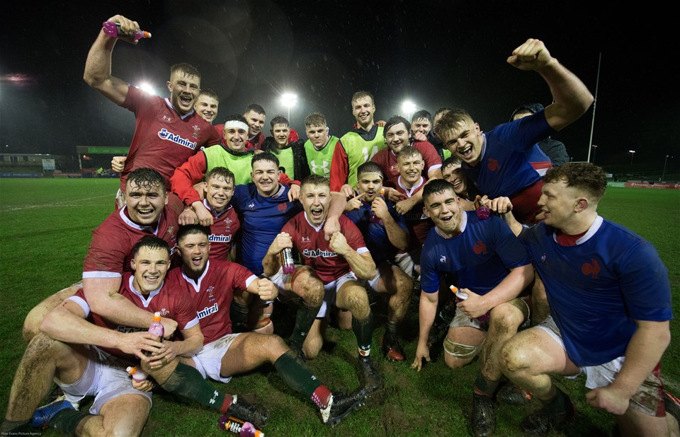 21.02.20 - Wales U20 v France U20, U20 Six Nations Championship - The Welsh team celebrate the win at the end of the match