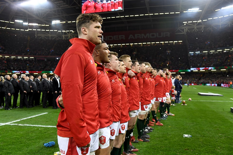 22.02.20 - Wales v France - Guinness Six Nations -Will Rowlands of Wales during the anthems