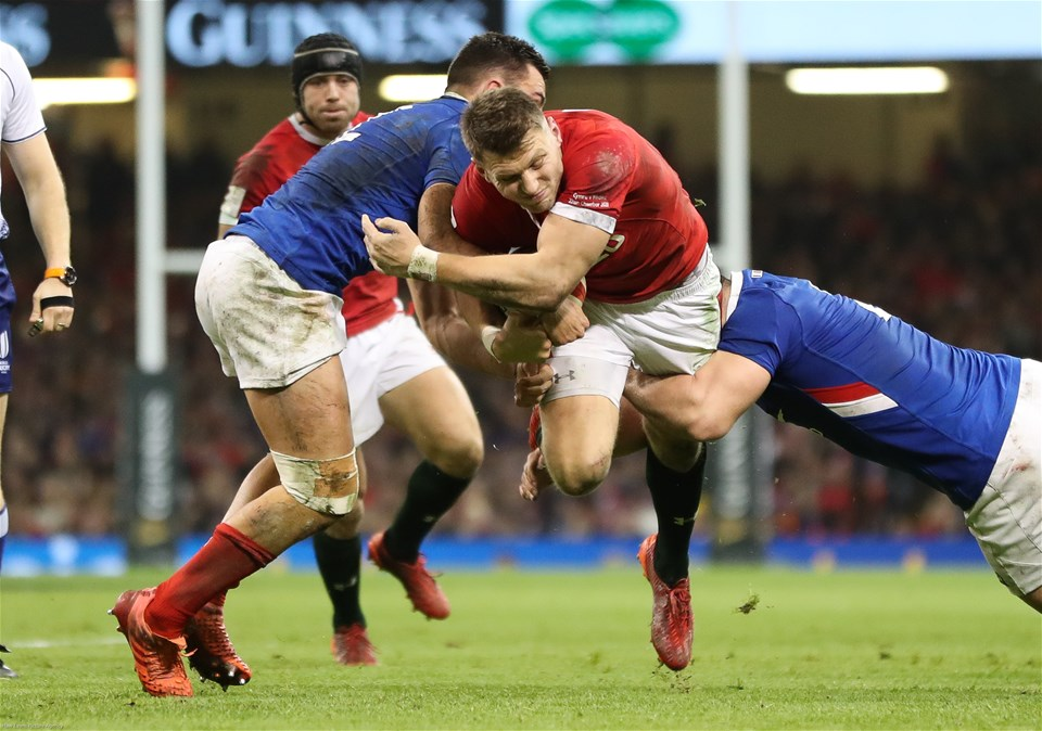 22.02.20 - Wales v France, Guinness Six Nations Championship 2020 - Dan Biggar of Wales is tackled by Julien Marchand of France and Arthur Vincent of France