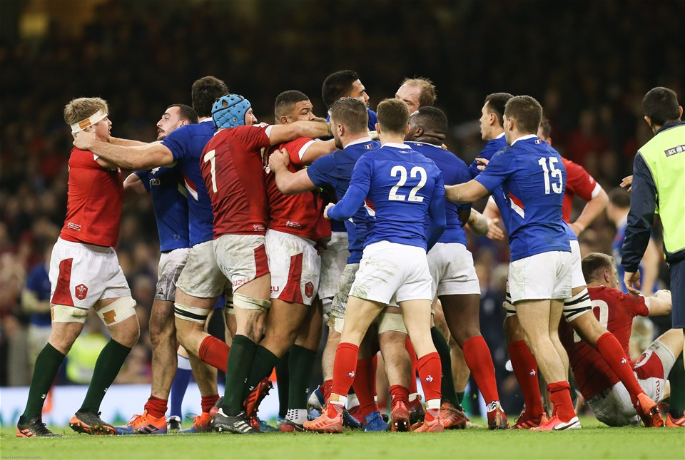 22.02.20 - Wales v France, Guinness Six Nations Championship 2020 - The two teams come to blows on the final whistle