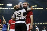 30.11.19 - Wales v Barbarians -  Ken Owens of Wales is congratulated after scoring a try by Rory Best of Barbarians.